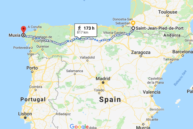 Camino route from Google Maps